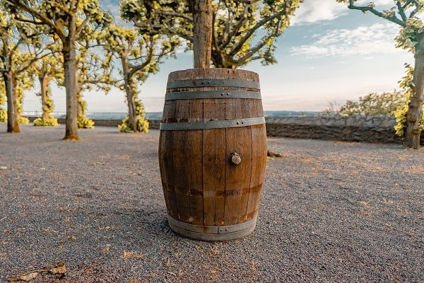 barrel collecting water