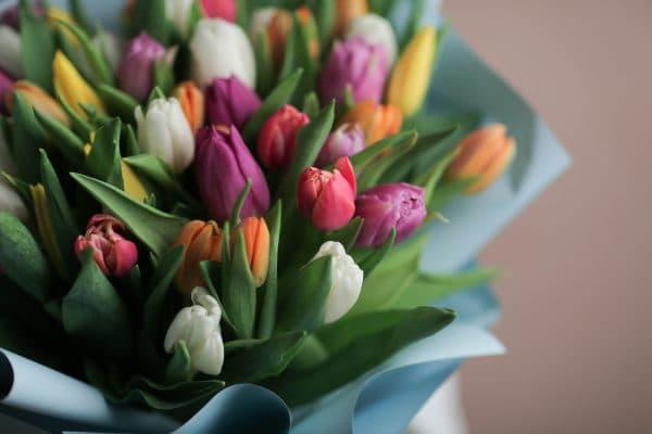 Монобукет из тюльпанов №1065 - Фото 2