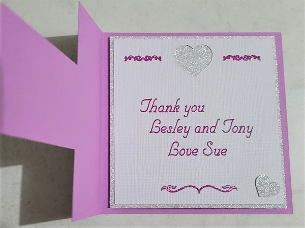 Inside of the T-Shaped thank you card created in Canvas Workspace using single lined font - Tuxedo