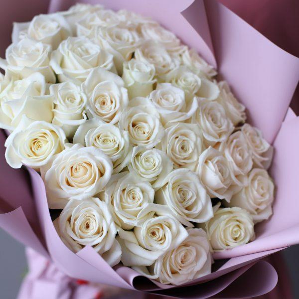 Монобукет из 35 Российских роз в оформлении №1020 - Фото 2
