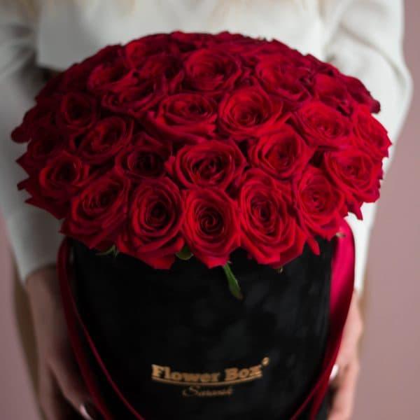 Шляпная Коробка М с Красными Розами №747 - Фото 2