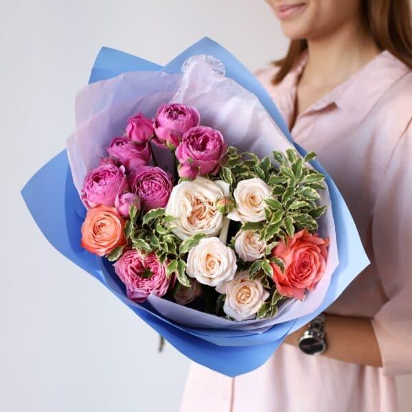 Букет из премиум пионовидных роз №1121 - Фото 3
