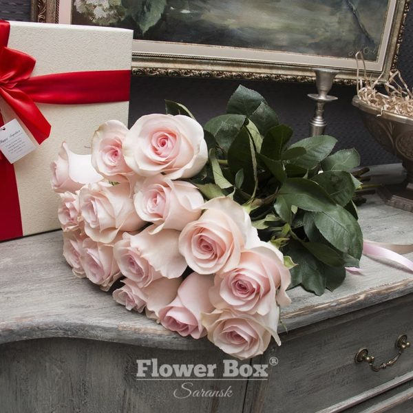 15 Голландских роз нежно розового цвета №255 - Фото 1