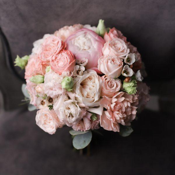 Классический свадебный букет с розовыми пионами №994 - Фото 1