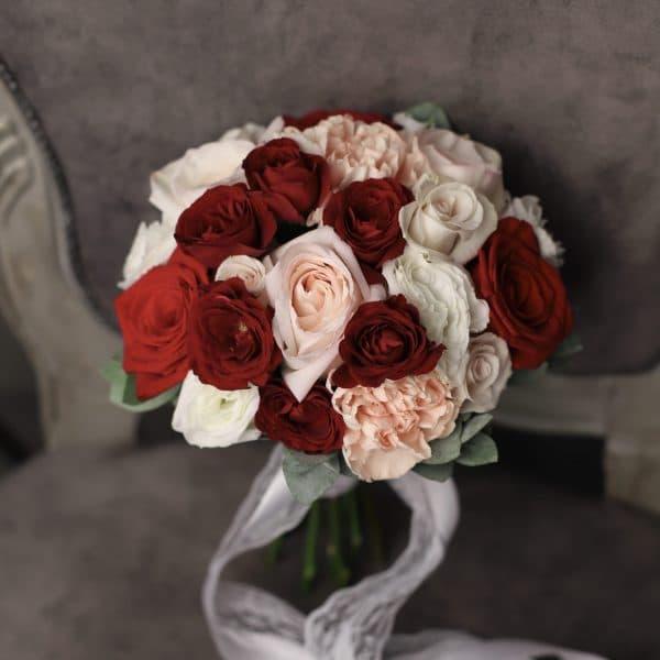 Букет невесты с бордовыми розами №962 - Фото 1