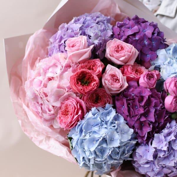 Сборный букет с гортензиями и пионовидными розами №833 - Фото 3