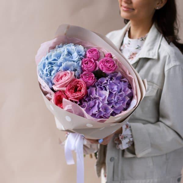 Сборный букет с гортензиями и пионовидными розами №835 - Фото 2