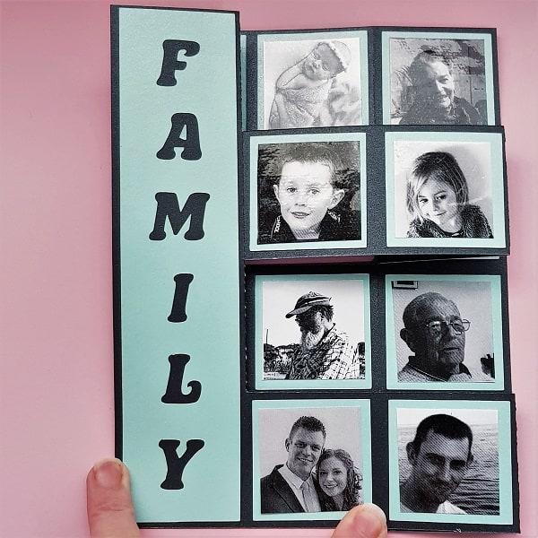 Finished pop-up photo frame folded