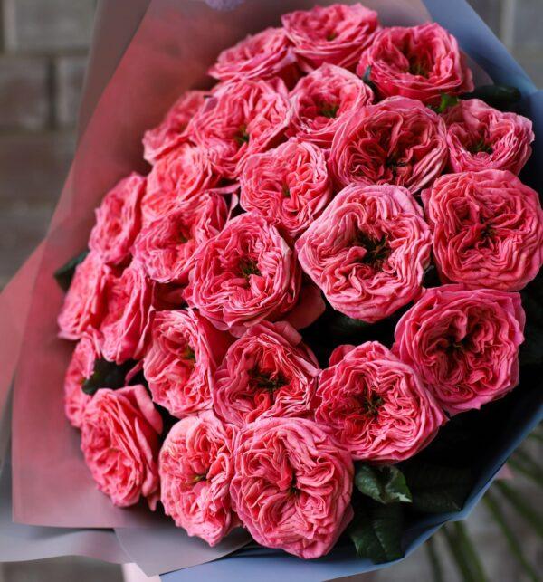 Монобукет из пионовидных Роз 25 шт №1117 - Фото 2