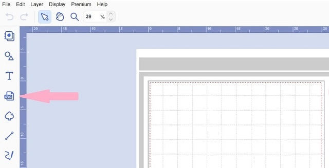 Using the SVG icon in the left-hand menu to import SVG and FCM files into Canvas Workspace.
