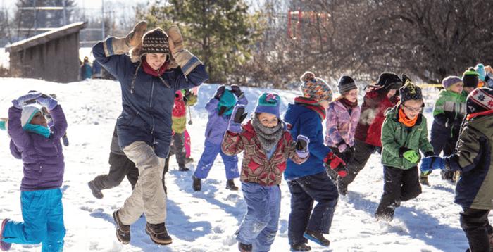 Kids Running with teacher