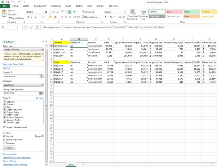Example of SEMrush API in Excel