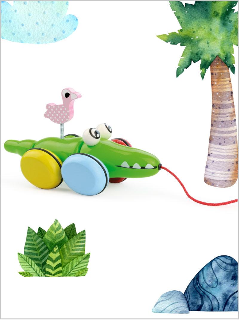 frederickandsophie-toys-vilac-wooden-croc-odile-pull-along