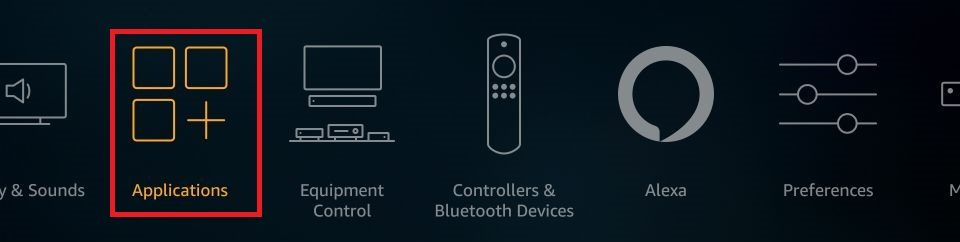 how to Fix Fire Stick not working. Click Applications.