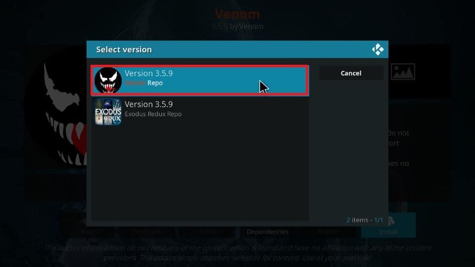 Select Version x.x.x Venom Repo