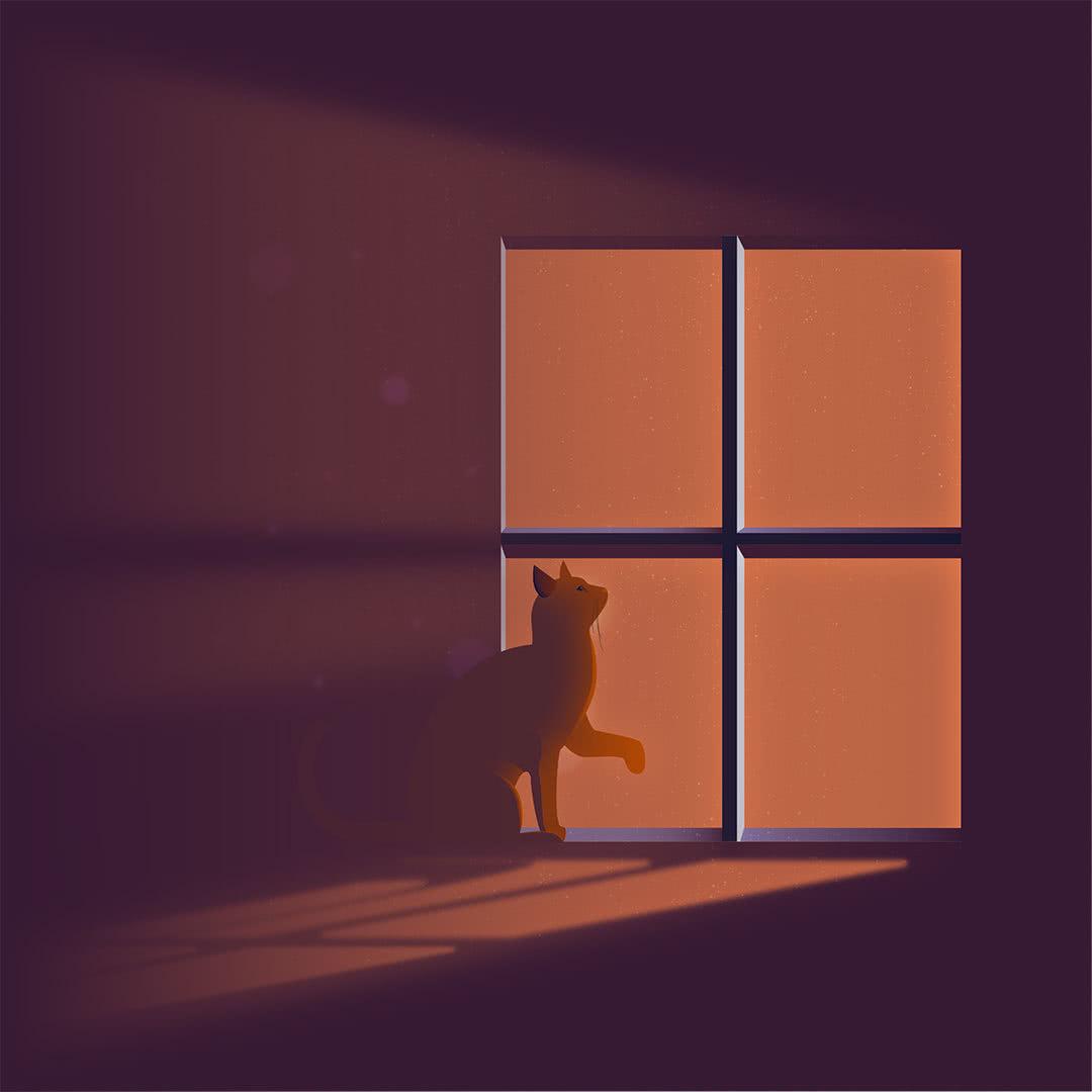 illustration of cat in window