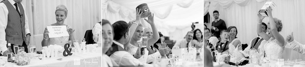 Bride has gifts during speeches