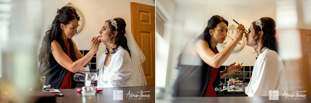 Bride and MUA during morning preparations.