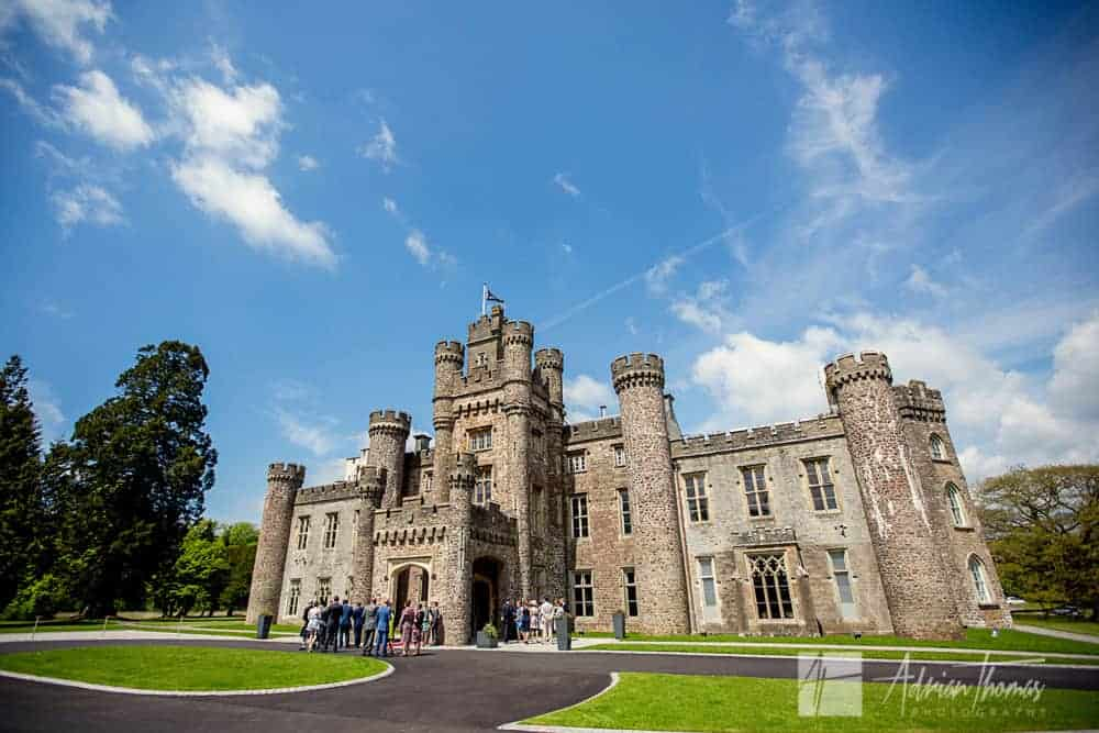 Photograph of wedding guests arriving at Hensol Castle venue.