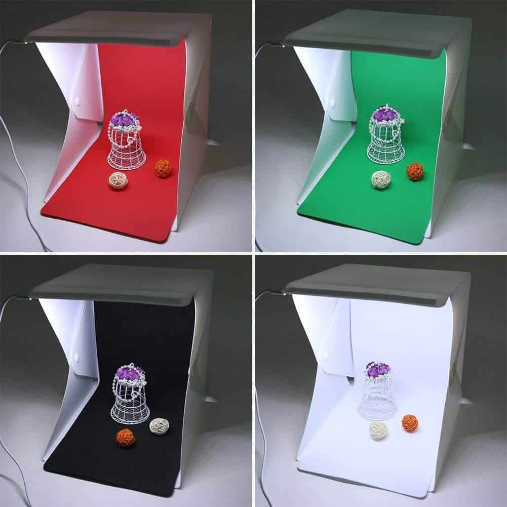 Image shows a typical cheap Amazon type photobox with four different colour backgrounds.