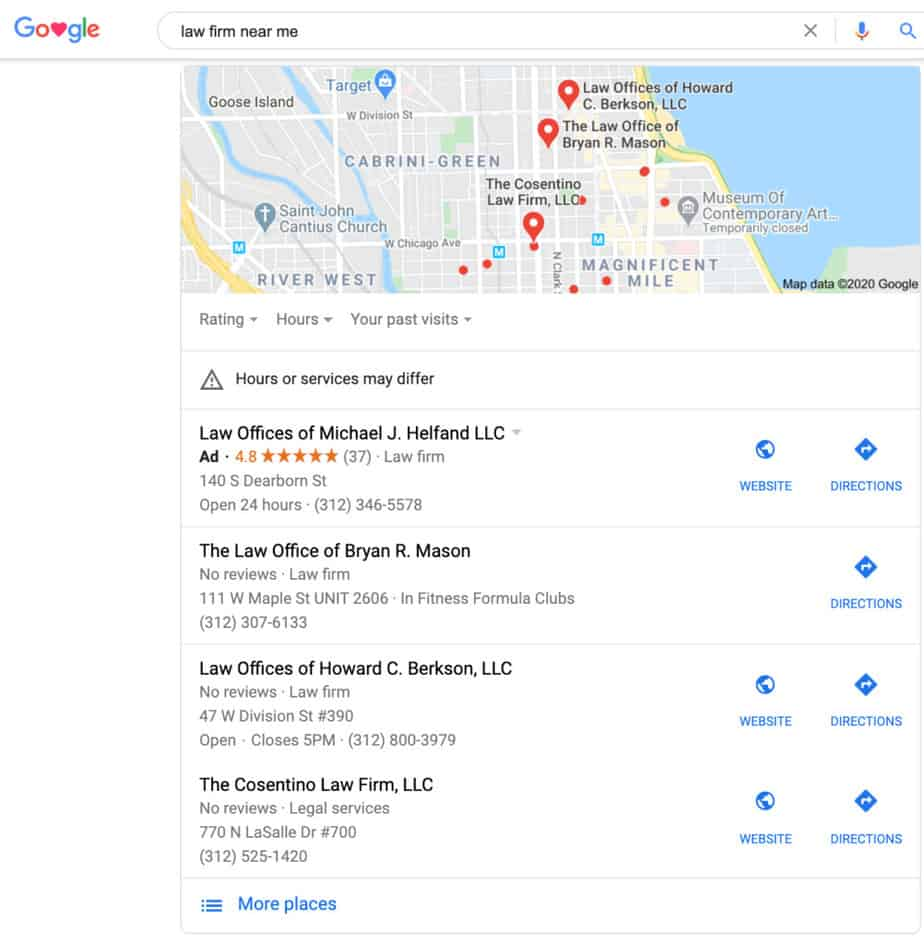 Example of SERP to depict local SEO for law firms.