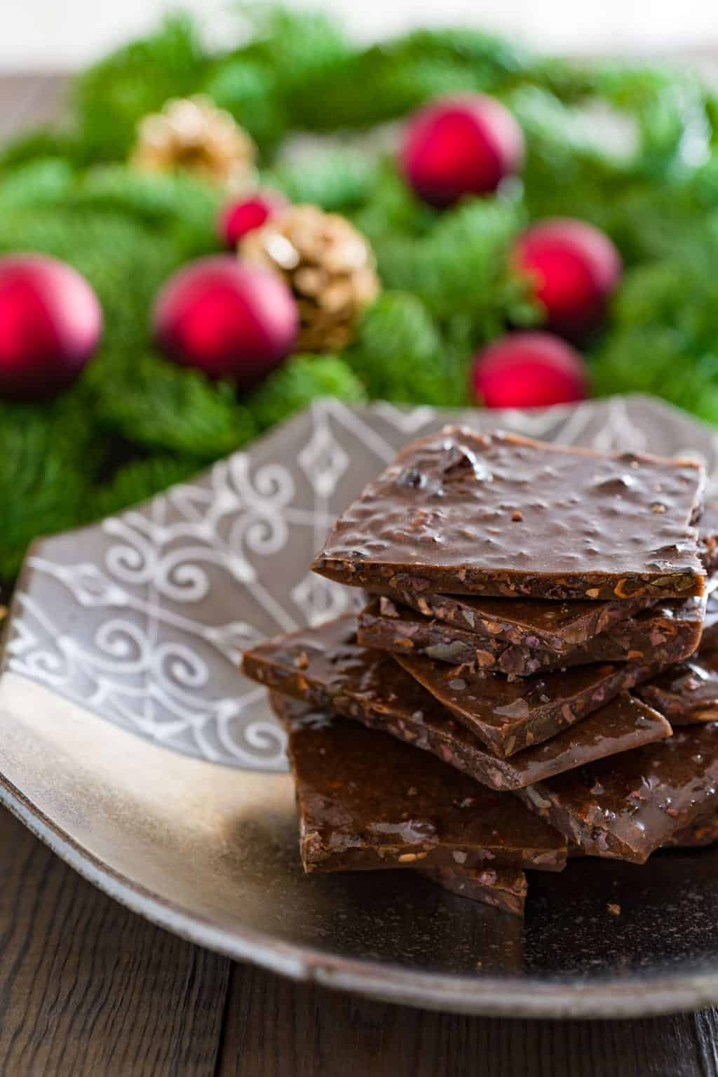 Delicious chocolate honey brittle with crunchy bits of cacao nibs.