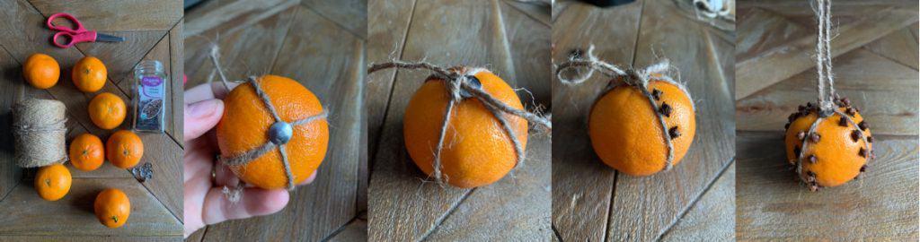 direction collage for clove studded  orange pomander