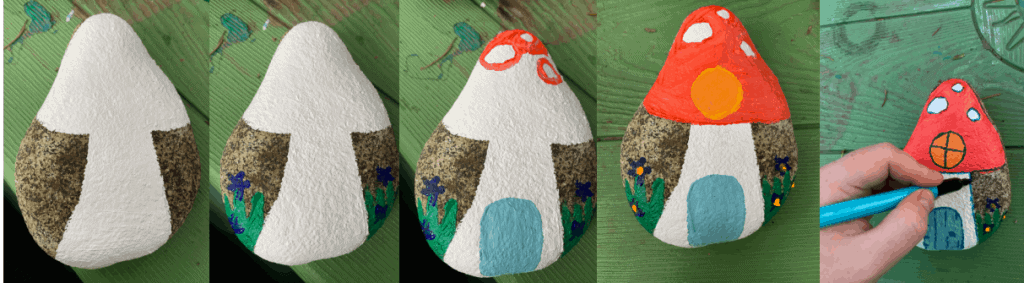 steps for painting a rock fairy house