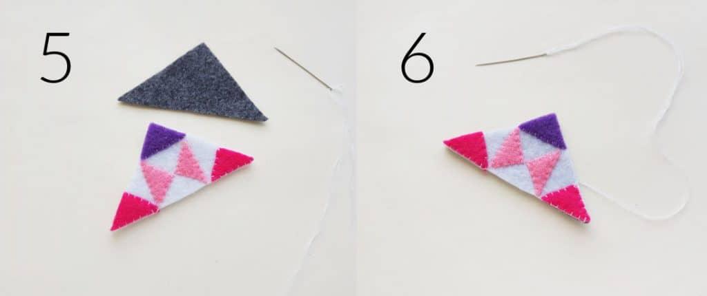 Final steps for making a corner bookmark.