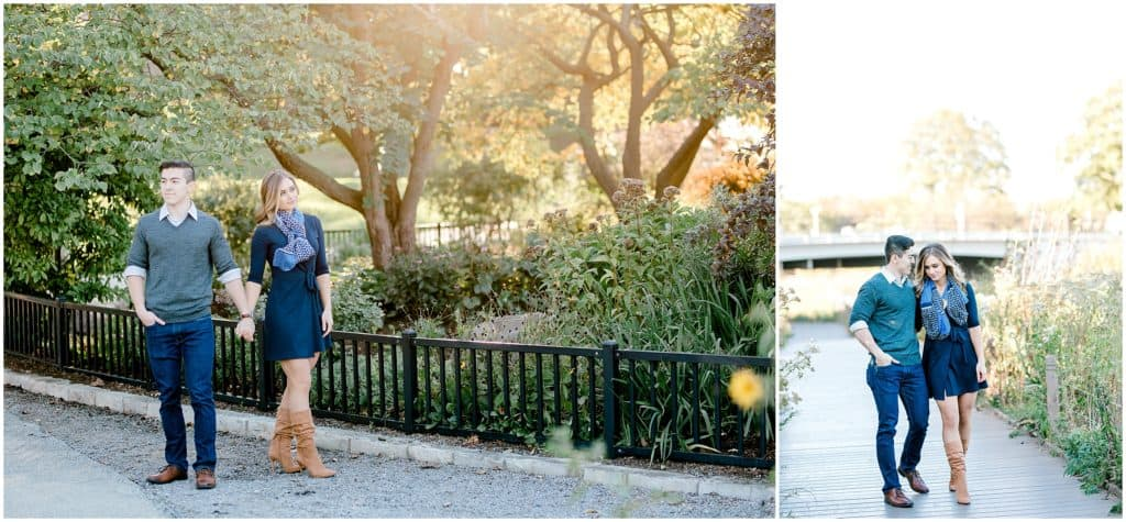engagement session in the sunset at Lincoln Park Chicago, couple walking  and lloking away