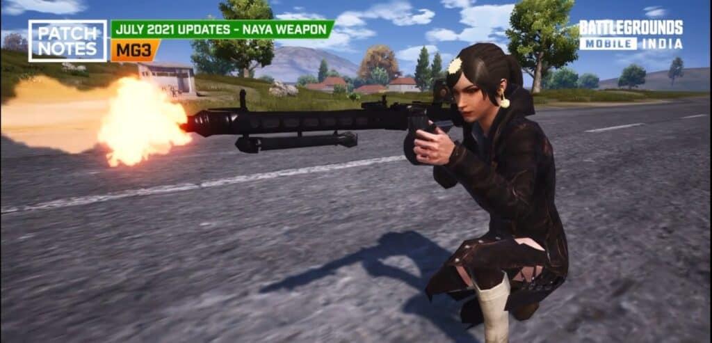Player firing with BGMI new gun MG3, BGMI july update