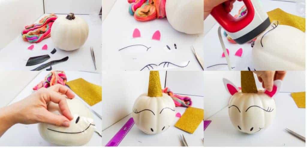 unicorn pumpkin instruction collage