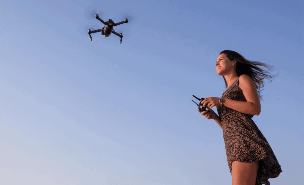 Drone being flown in wind