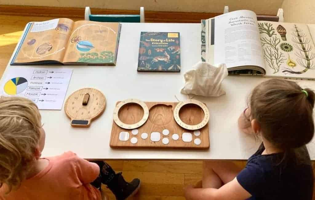 Montessori kids and Second Great Lesson books and materials