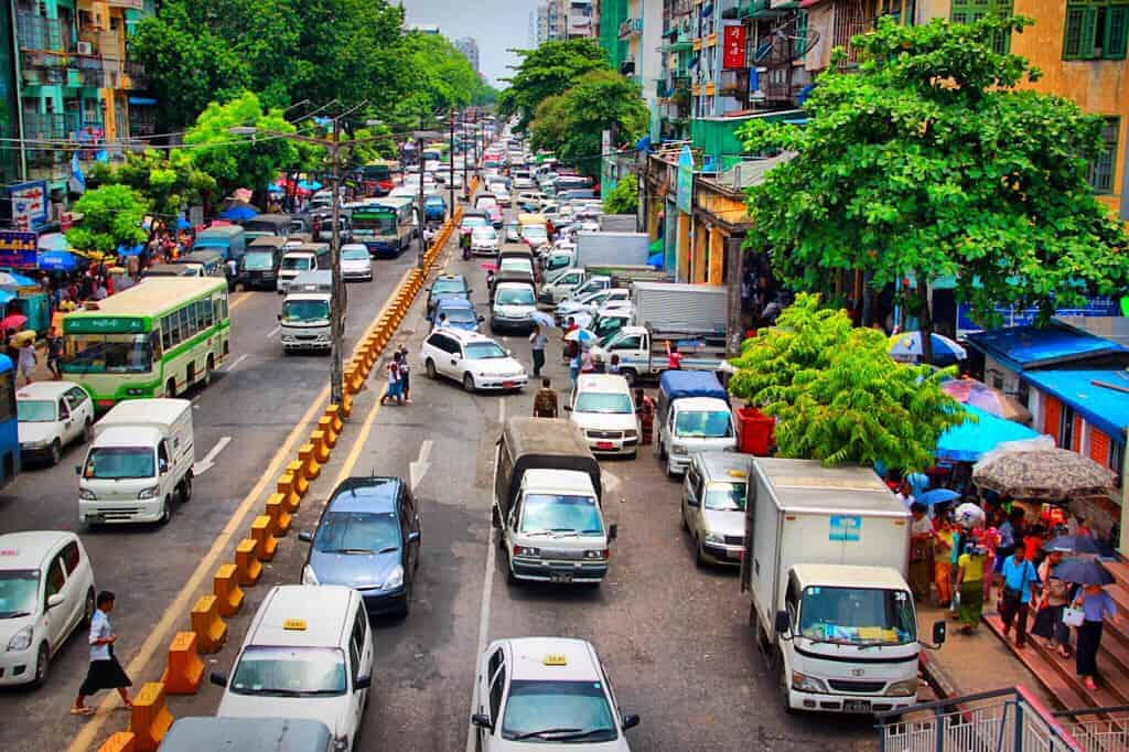Traffic in Myanmar It's quite difficult to drive in Myanmar!