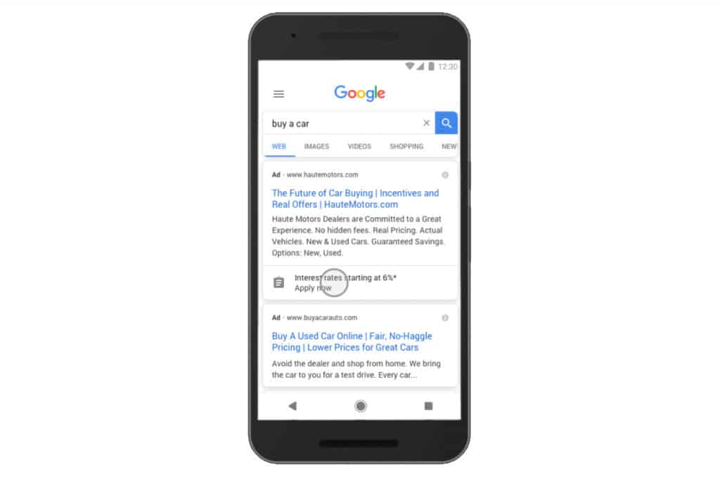 Example of Google Ads Lead Form Extension