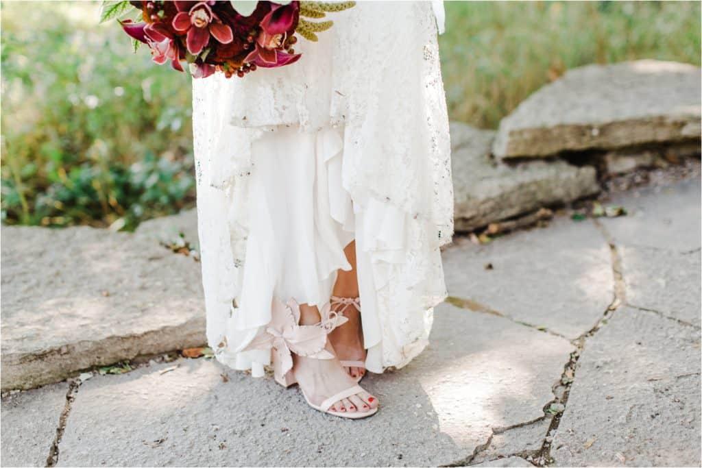 bridal flowers, bridal shoes wedding pictures wedding inspiration, Chicago wedding photographer, Alfred Caldwell Lily Pool wedding, Chicago wedding pictures, best locations for wedding in Chicago