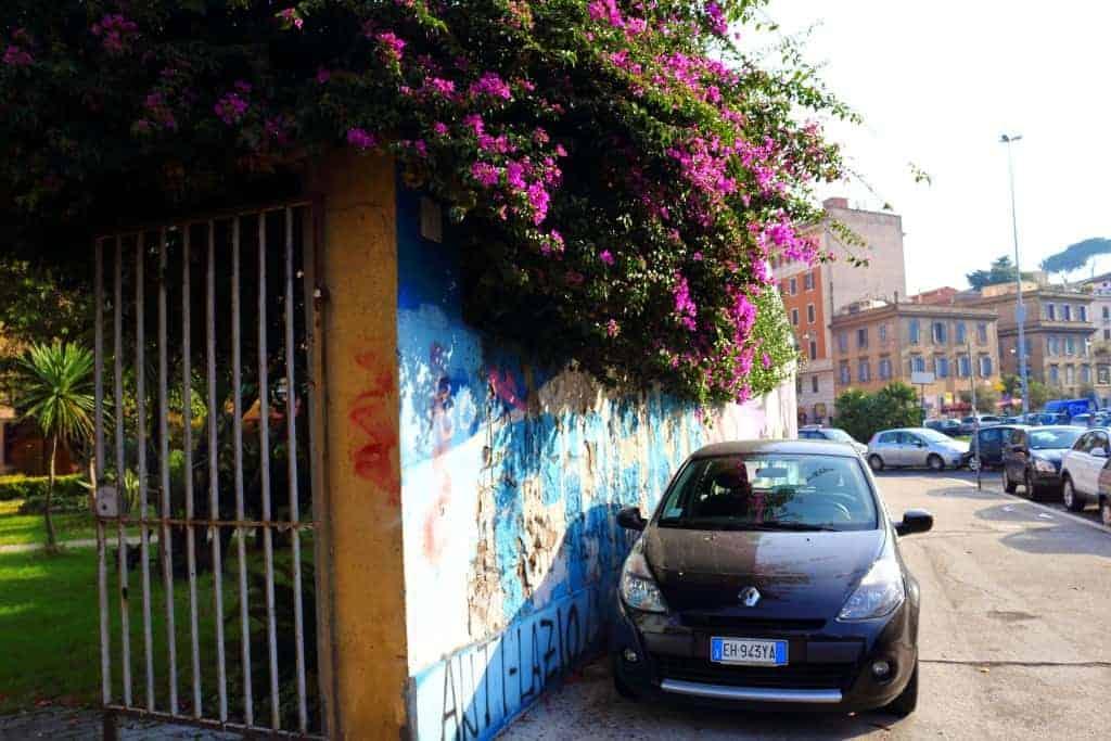 Rome City Centre car flowers streets