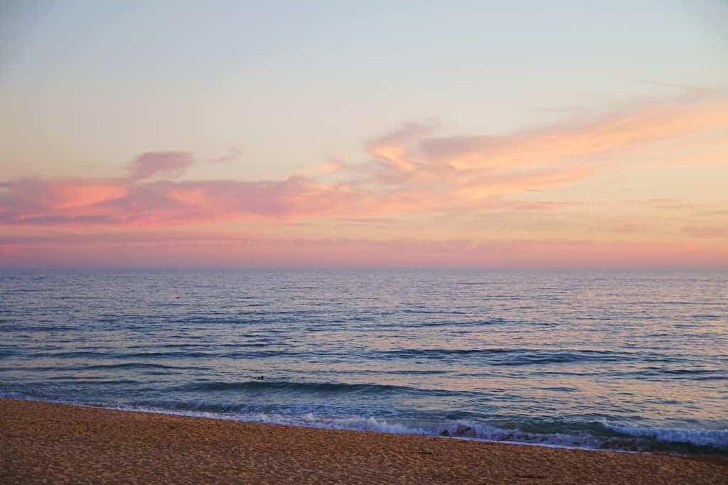 Romantic Portuguese beach sunset