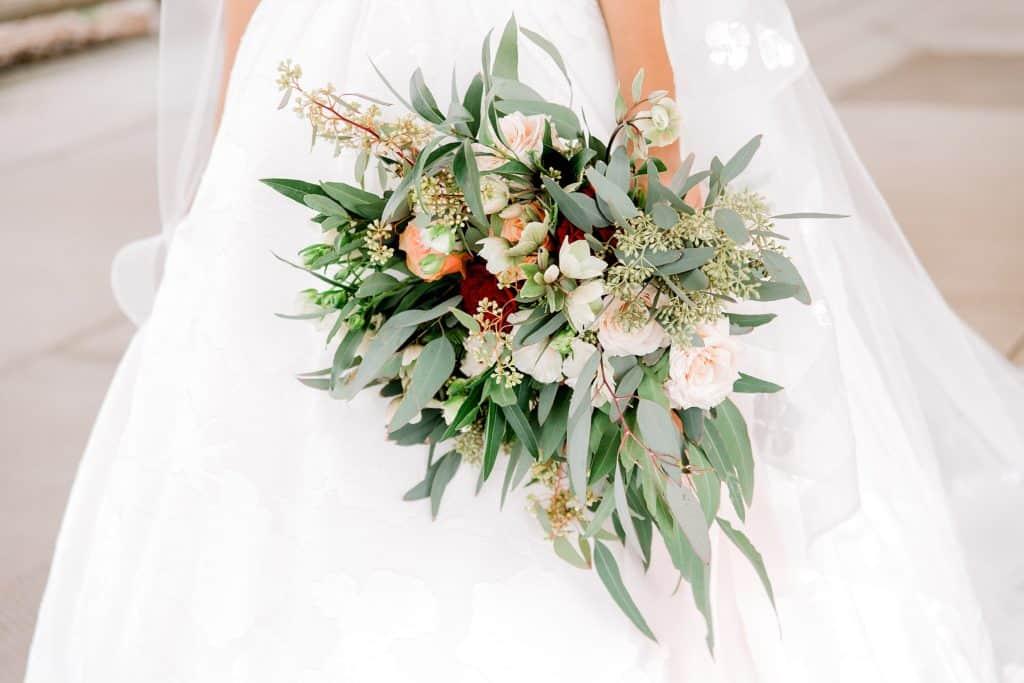 wedding flowers held by the bride