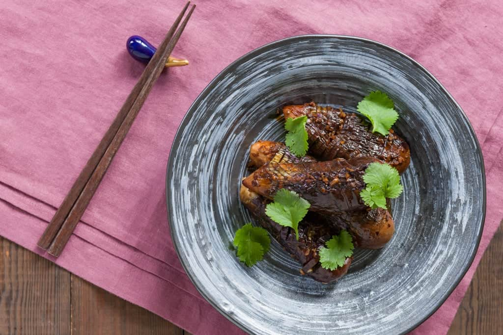 Delicious Hasselback Eggplant with a garlic soy glaze