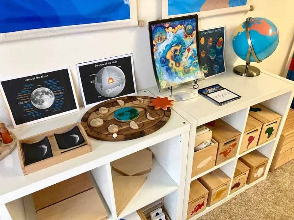 Mirus Toys Moon Calendar and Printables, Waseca Biomes, Cosmic Story Cards, and Globe as Montessori First Great Lesson Materials and Follow-Up