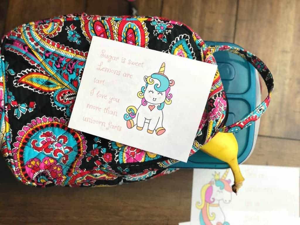 unicorn valentine on a lunchbox
