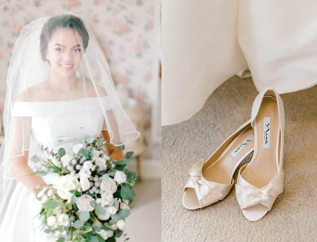 bride sitting holding flowers, looking straight into the camera, wedding shoes by chicago wedding photographer bozena voytko