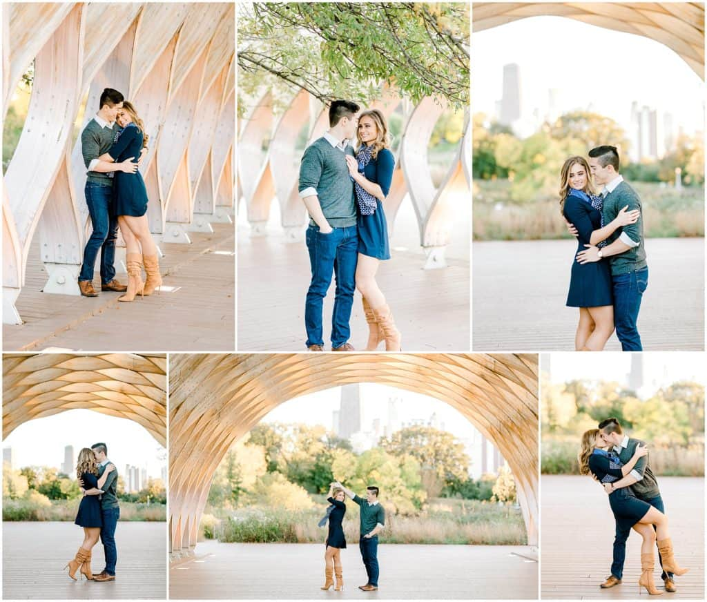 Chicago Honeycomb engagement portraits of the couple who is laughing and snuggling by chicago engagement photographer bozena voytko