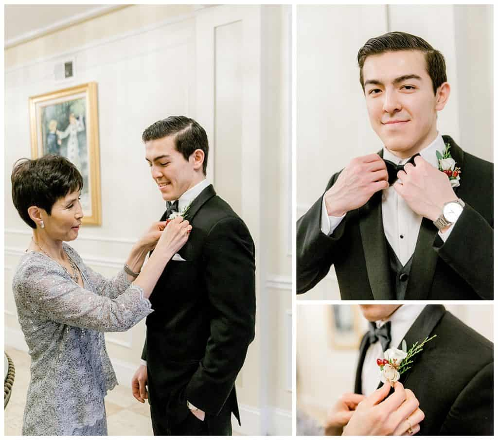 groom getting reday at Stan Mansion in Chicago, winter