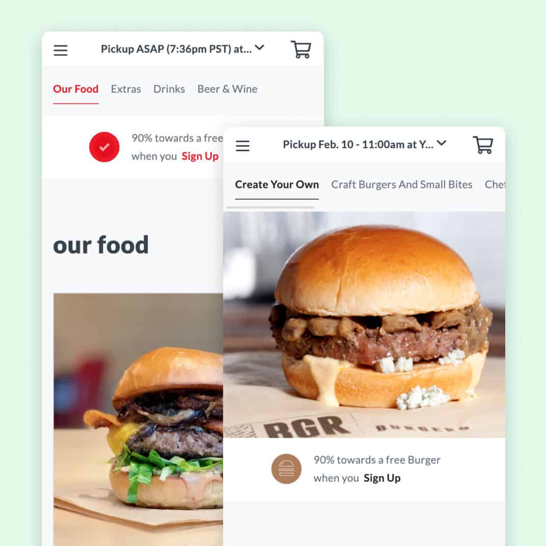2 screenshots of Amergent Hospitality Group mobile ordering experiences by Thanx