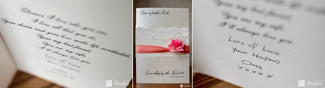 Bride wedding card from her husband to be,