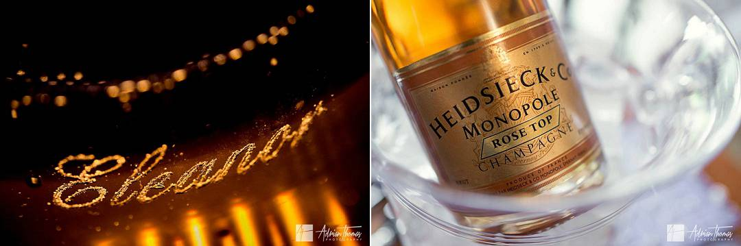 Brides name engraved in champagne flute.
