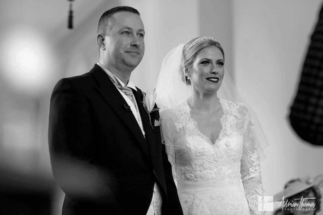 Bride and groom during their Clearwell Castle wedding service.